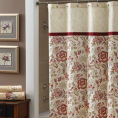 Croscill Romance Shower Curtain  - intricate Jacobean floral print for the body in shades of red, rose and beige, soft green and cream. Across the top is a smaller, coordinating border print in beige and cream. A crimson grosgrain ribbon has been applied over the seam between the body and top border as a decorative accent. #bathroom #decor #showercurtain