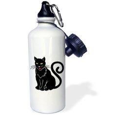 3dRose Cartoon Big Black Cat, Sports Water Bottle, 21oz, White