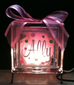 """(All the new babies) DIY:: Glass block nite light. Great for a baby shower gift. Try """"Sweet Dreams"""" or """"Baby Girl"""" Baby Crafts, Cute Crafts, Crafts For Kids, Diy And Crafts, Wood Crafts, Glass Block Crafts, Glass Blocks, Diy Projects To Try, Craft Projects"""