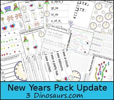 Free New Years Pack Update for ages 2 to 8 over 45 pages added - 3Dinosaurs.com