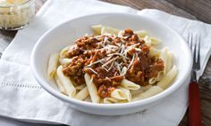 pasta with red sauce and sausage