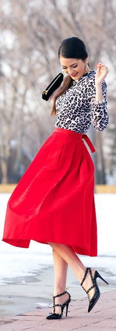 Dressed up, bright red, tie-back, sweet, tea-length circle skirt!