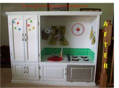 "TV armoire/stand to play kitchen. Just paint, update hardware, stencils (if needed), or you could use CD Roms for the oven ""eyes"". Add Chalk paint if you want if you would like your child to be able to write on the cabinents (instead of your walls) :) - Angela"