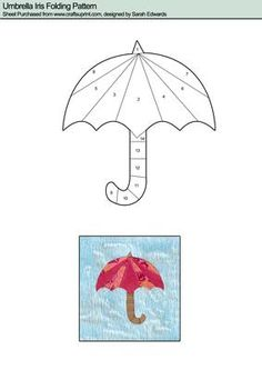 Umbrella Iris Folding Pattern on Craftsuprint designed by Sarah Edwards - Umbrella Iris Folding Pattern - Now available for download!
