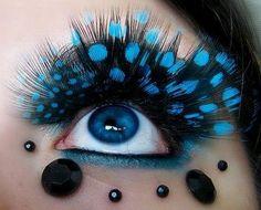 Blue Feather Eyelashes