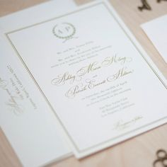 Initials up top in a simple yet pretty way.  Monogram Wedding Invitation  classic by JenSimpsonDesign on Etsy, $3.50