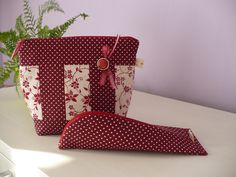 Red cosmetic bag with pencil case