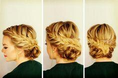 Peinado recogido trenzas griego novia