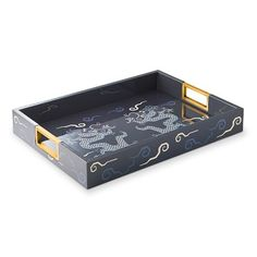 Schumacher Bixi Dragon Blue Printed Paper Tray #williamssonoma