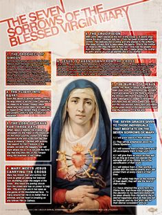 The Seven Sorrows of the Blessed Virgin Mary Explained Poster. This beautiful graphic poster takes the reader through each Sorrow as a meditation, and at the end, explains the promises for those who meditate on them!