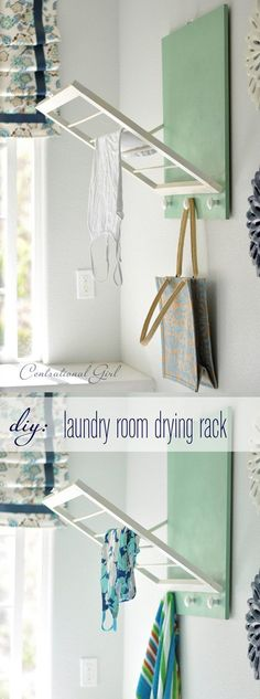 DIY Foldable Laundry Room Drying Rack: I like the colour block behind it!