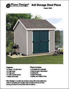 8' X 8'Gable Storage Shed Floor Plans -Design #10808 Pla...