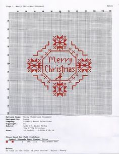 """""""Merry Christmas"""" free cross-stitch pattern compliments of Liberty Primitives & Needlework"""