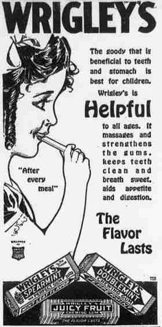 Old Wrigleys chewing gum ad from 1917