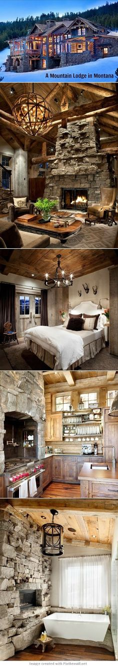 Large mountain lodge that retains a cozy feel. Vacation home Log Cabin Homes, Log Cabins, Cabins And Cottages, Mountain Homes, Cabins In The Woods, House Goals, Cabana, My Dream Home, Future House
