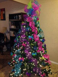 Christmas tree decorated with glitter mesh and tulle Ribbon On Christmas Tree, Christmas Tree Design, Beautiful Christmas Trees, Colorful Christmas Tree, Christmas Tree Themes, Holiday Tree, Christmas Tree Decorations, Turquoise Christmas, Purple Christmas