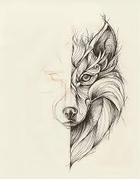 Afbeeldingsresultaat voor geometric tattoo wolf