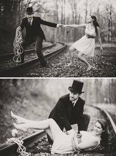 Visit the original website to see how this is actually a clever Damsel in Distress engagement photoshoot! So awesome!