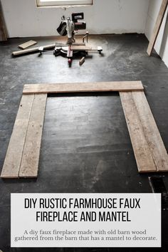 Add a rustic, farmhouse feel to your home by building a faux fireplace surround with mantel. This is an easy DIY tutorial on how to build a faux fireplace. Use this to solve small space problems yet give a big beautiful impact in any home. Fireplace Surround Diy, Faux Fireplace Mantels, Build A Fireplace, Wooden Fireplace, Fireplace Surrounds, Farmhouse Fireplace, Country Fireplace, Faux Foyer, Faux Mantle