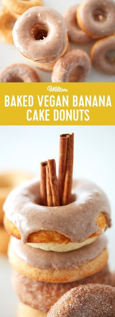 Baked Vegan Banana Cake Donuts - Just because you're a vegan doesn't mean you can't indulge in a donut now and then. This healthier version of our cake donut recipe gets its delicious flavor and texture from banana, almond milk and coconut oil. Top them with a sprinkle of cinnamon-sugar or drizzle them with a cinnamon glaze, and done. Donut craving satisfied. Recipe makes 12 donuts.