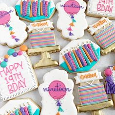 "Laura on Instagram: ""Happy 19th! #customcookies #decoratedcookies #instacookies #birthdaycookies #happybirthday #buzzfeedfood #huffposttaste #partyplanning…"""