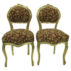 French Louis XVI-Style Chairs, Pair - Side Chairs - Dining Chairs - Dining Room - Furniture One Kings Lane French Dining Chairs, Dining Room Chairs, Dining Room Furniture, Side Chairs, Antique Furniture, Paisley Design, Louis Xvi, French Vintage, Vintage Antiques