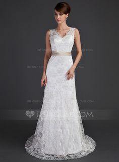 A-Line/Princess V-neck Court Train Charmeuse Lace Wedding Dress With Sash Beading Bow(s) (002000171) - JJsHouse