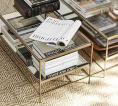 Leona Metal Rectangular Coffee Table, Brass finish