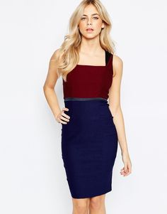 Image 1 of Vesper 2 In 1 Color Block Pencil Dress With Square Neck