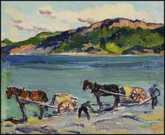 """""""The Clam Diggers, Corner of the Beach, Gaspé,"""" Rita Mount, oil on board, 9 x 11"""", private collection."""