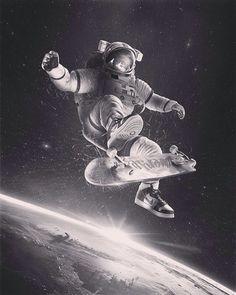 Cosmonaut skateboard skate space