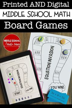 These engaging middle school math games include a printed and digital copy for your students. These videos show how to play the game in your classroom. Google Math Games, 6th Grade Math Games, Class Games, Math Board Games, Fun Math, Math Math, Maths, Math Groups, Solving Equations