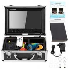 """KKMOON HD 1200TVL Underwater Fish Finder Kit with 9"""" LCD Monitor + 15M Camera + 4000mah Battery Box + Removable Sun-shield + Portable Alloy Case + Remote Control support Waterproof Night View Battery Level Indication Adjustable LED Intensity Plug and Play for Ice/Sea/River Fishing"""