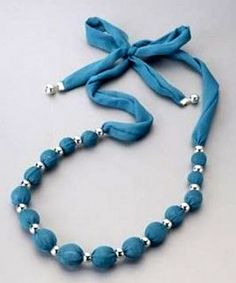 28 Ideas Jewerly Ideas To Make Necklaces Jewellery - DIY Schmuck Ideen Scarf Jewelry, Textile Jewelry, Fabric Jewelry, Jewelry Necklaces, Beaded Bracelets, Jewellery Diy, Bead Jewelry, Handmade Necklaces, Fabric Necklace