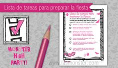 Lista de tareas para fiesta Monster High