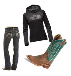 """""""Untitled #12"""" by horseloverlexi on Polyvore featuring Ariat, The North Face and Justin Boots"""