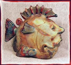 OOAK Raku Fish Sculpture PHANTOM by SmilesUnlimited on Etsy, $155.00