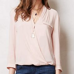 Anthropologie Pink Wrap Blouse Worn once. Great condition. Needs to be ironed. Anthropologie Tops Blouses