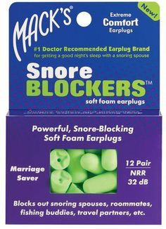 Mack's Snore BlockersTM Ear Plugs - 12-pair Box by Mack's. $6.07. Macks® Snore BLOCKERSTM Earplugs are made with powerful, snore-blocking, super-soft foam. The unique hollow end maximizes comfort, especially during sleep. These are perfect for extended wear in situations where extreme comfort is paramount. Great for blocking out snoring spouses, roommates, fishing buddies, travel partners, etc. Noise reduction - 32 decibels. (12 Pair)