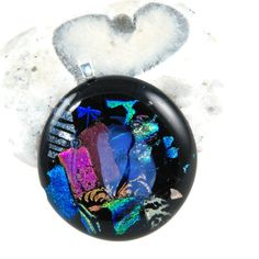 round glass pendant dichroic glass black by bluedaisyglass on Etsy, £22.00