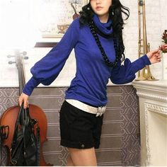 New Women Stylish Cotton Blouses Long Lantern Sleeve High Collar Casual Slim