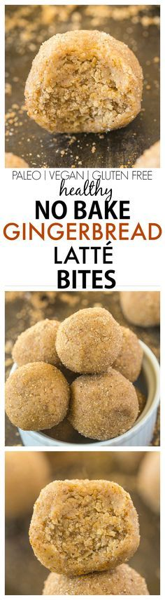 Healthy No Bake Gingerbread Latte Bites recipe- Quick, easy and delicious, these bites are doughy and taste like a Gingerbread latte minus all the sugar and fat! The perfect snack- Perfect for Christm (Christmas Bake Gingerbread) Protein Bites, Protein Snacks, High Protein, Energy Bites, Healthy Sweets, Healthy Baking, Healthy Snacks, Vegan Snacks, Eating Healthy