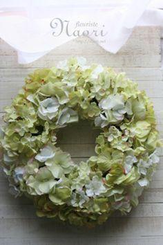 Silk flower wreath of green antique hydrangea