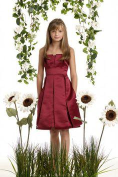 Sheath Strapless Natural Waist Pleated Tea Length Satin Red Junior Bridesmaid Dresses