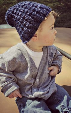 slouchy beanie and cool sweater for little boy
