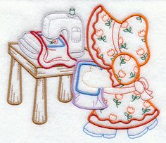 SUNBONNET SUE & EMBROIDERY Machine  Machine by AzEmbroideryBarn on Etsy