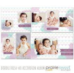 Doodle Fresh 4x8 Accordion Album Template by Prairie Sweet Boutique