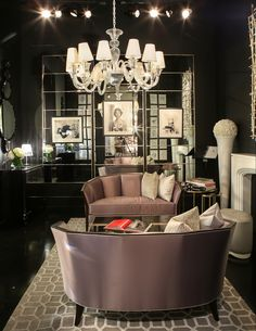 Want to make a dramatic and sophisticated statement with your decor? Christopher Guy, Black Walls, Colorful Furniture, Household, Ceiling Lights, Living Rooms, House Styles, Hallways, Sofa
