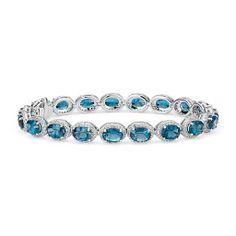 London Blue Topaz and White Topaz Halo Bracelet in Sterling Silver