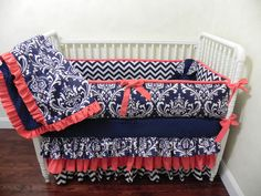 Baby Bedding Crib Set Danielle - Navy Damask Chevron Coral : Just Baby Designs, Custom Baby Bedding Custom Crib Bedding Custom Nursery Bedding
